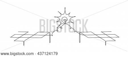 One Line Drawing Of A Solar Panels. Solar Panels Facing The Sun To Collect Heat By Absorbing Sunligh