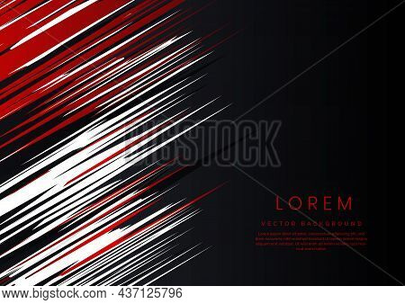 Template Abstract Red, Black And White Background With Stripe Lines Diagonal With Space For Text. Yo
