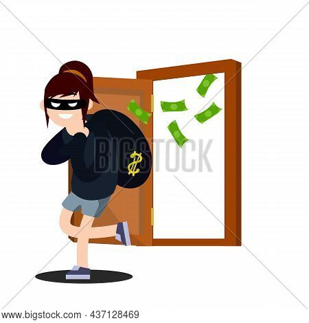 Thief With Bag Of Money. Funny Criminal Woman In Black Mask. House And Bank Robbery. Cartoon Flat Il