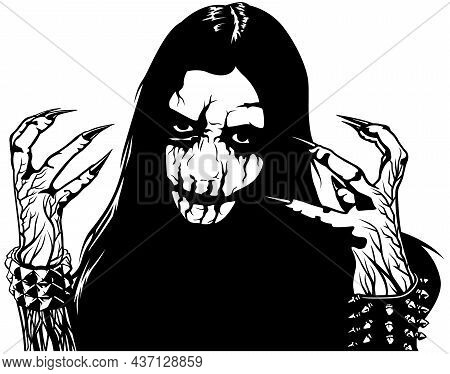 Corpse Paint Makeup - Black And White Sketch As Design Element For Black Metal Or Death Metal Or Met