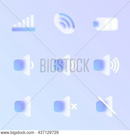 Mobile Ui Glass Morphism Trendy Style Icon Set. Mobile Ui Transparent Glass Color Vector Icons With