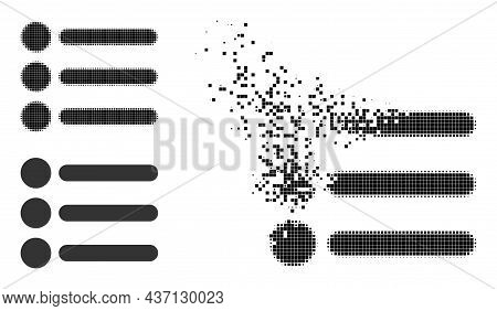 Dissipated Dotted List Items Pictogram With Halftone Version. Vector Destruction Effect For List Ite