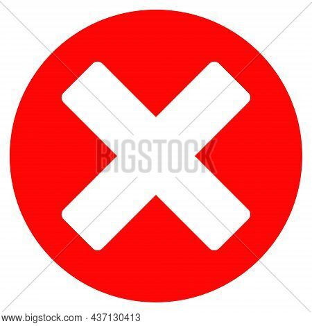 Cancel Sign Icon With Flat Style. Isolated Raster Cancel Sign Icon Image On A White Background.