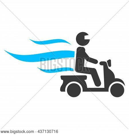Fast Motorbike Courier Icon With Flat Style. Isolated Raster Fast Motorbike Courier Icon Image On A