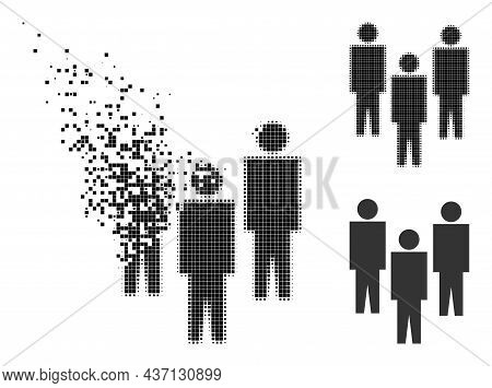 Dissolved Pixelated People Pictogram With Halftone Version. Vector Destruction Effect For People Pic