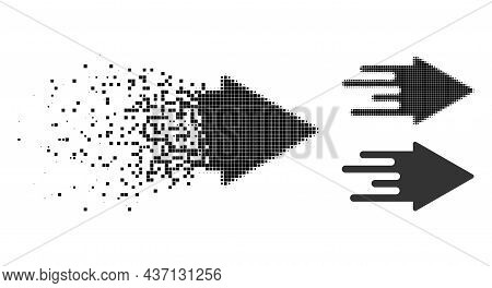 Shredded Pixelated Quick Arrow Glyph With Halftone Version. Vector Destruction Effect For Quick Arro