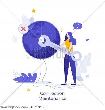 Repairwoman Tightening Nut On Globe Or Planet. Concept Of Wi-fi Connection Maintenance, Internet Bla