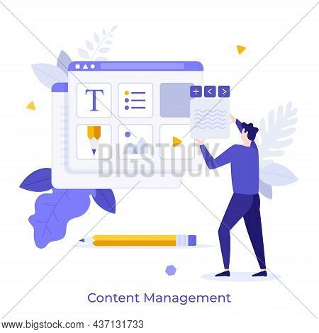 Man Organizing Digital Elements Of Website In Browser Window. Concept Of Web Content Management, Web