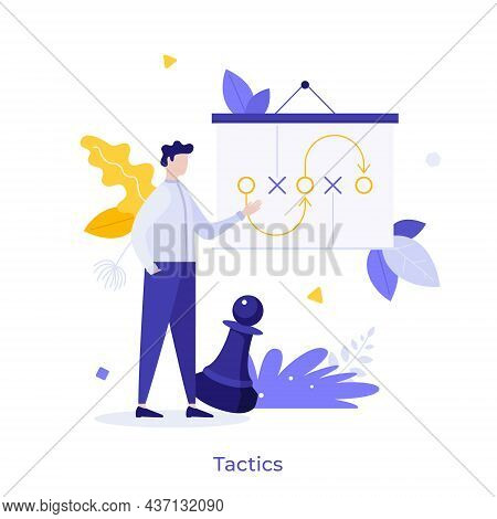 Entrepreneur Making Presentation, Whiteboard With Scheme And Chess Piece. Concept Of Business Tactic