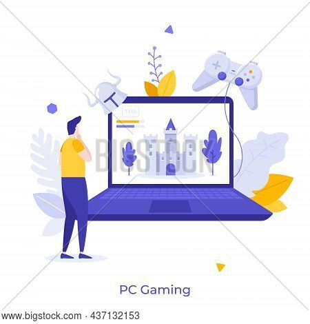Gamer Standing In Front Of Laptop With Castle On Screen And Gamepad. Concept Of Pc Or Personal Compu