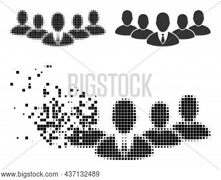 Erosion Pixelated Team Boss Icon With Halftone Version. Vector Destruction Effect For Team Boss Pict