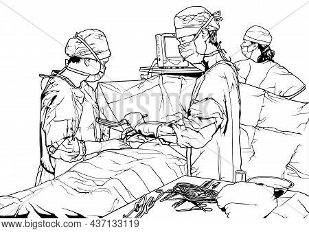 Team Doctors In The Operating Room - Black And White Drawing Illustration With Medical Theme Isolate