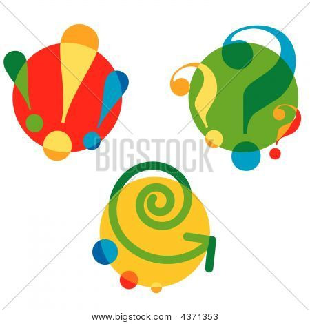 Set of different cartoon symbols for design poster
