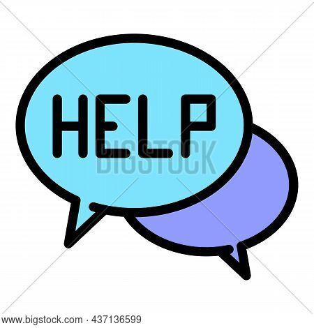 Help Service Chat Icon. Outline Help Service Chat Vector Icon Color Flat Isolated