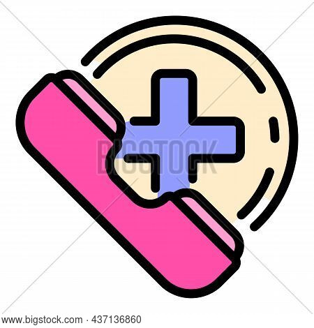 Medical Call Help Icon. Outline Medical Call Help Vector Icon Color Flat Isolated
