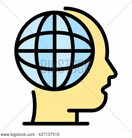 Global Human Skill Icon. Outline Global Human Skill Vector Icon Color Flat Isolated