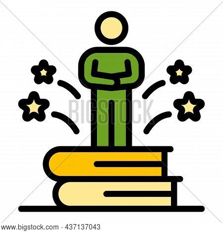 Interview Book Stack Icon. Outline Interview Book Stack Vector Icon Color Flat Isolated