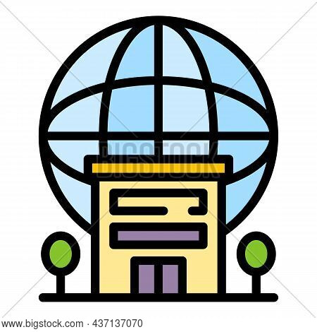 Student Building Icon. Outline Student Building Vector Icon Color Flat Isolated