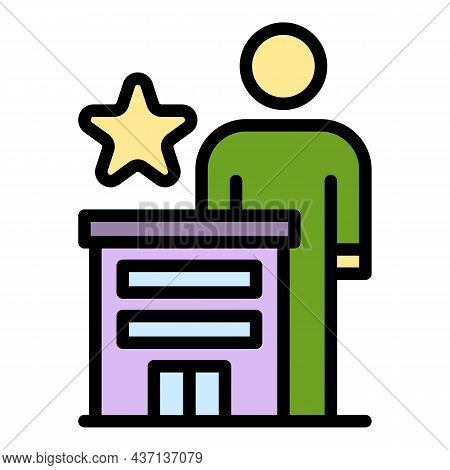 Career Speaker Icon. Outline Career Speaker Vector Icon Color Flat Isolated