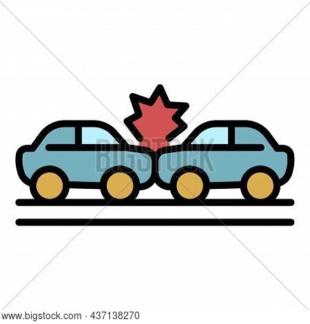 Windscreen Car Accident Icon. Outline Windscreen Car Accident Vector Icon Color Flat Isolated