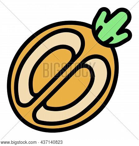 Half Tropical Fruit Icon. Outline Half Tropical Fruit Vector Icon Color Flat Isolated
