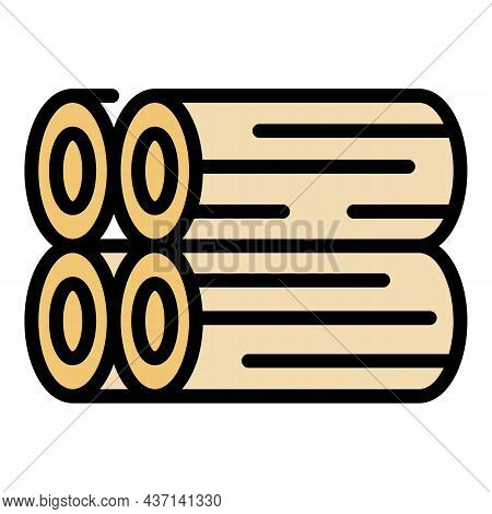 Metal Pipes Icon. Outline Metal Pipes Vector Icon Color Flat Isolated