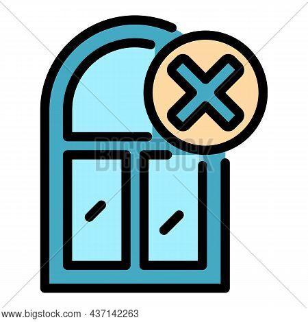 Cancel Window Installation Icon. Outline Cancel Window Installation Vector Icon Color Flat Isolated
