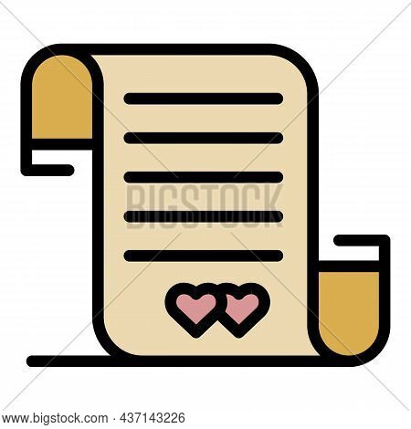 Wedding Contract Icon. Outline Wedding Contract Vector Icon Color Flat Isolated