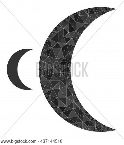 Low-poly Moon Icon On A White Background. Flat Geometric Mesh Illustration Based On Moon Icon. Polyg