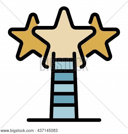 Ladder To Star Goals Icon. Outline Ladder To Star Goals Vector Icon Color Flat Isolated