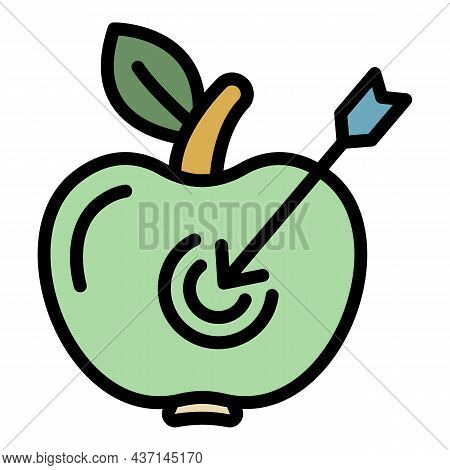 Apple Goal Achievement Icon. Outline Apple Goal Achievement Vector Icon Color Flat Isolated