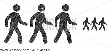 Lowpoly Pedestrian People Icon On A White Background. Flat Geometric Polygonal Illustration Based On
