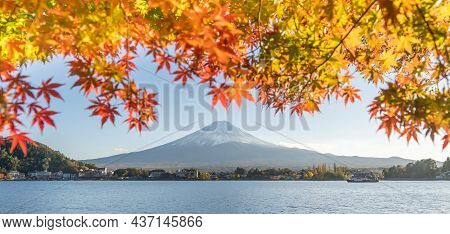 Mount Fuji Scenery And The Leaves Of The Maple Trees That Turn Red Before Winter Is A Famous Tourist
