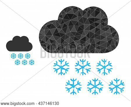 Lowpoly Snow Weather Icon On A White Background. Flat Geometric Polygonal Illustration Based On Snow