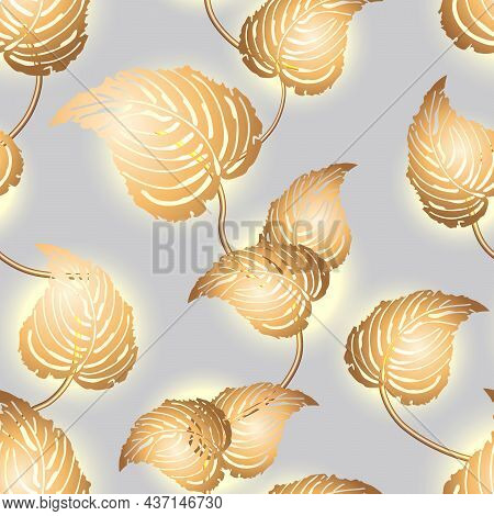 Pattern With Leaves Of Gold Color.gold Leaves Backlit On Colored Background In A Seamless Vector Pat