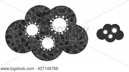 Low-poly Virus Cloud Icon On A White Background. Flat Geometric Polygonal Illustration Based On Viru