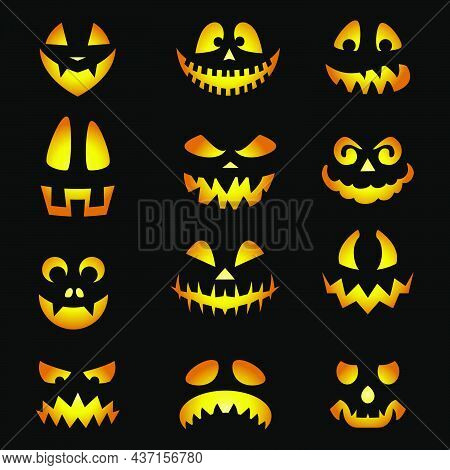 Glowing Pumpkin Faces Emoticons. Scary Halloween Emojis Of Angry Ghost, Spooky Creatures With Evil E