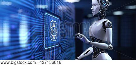 Ai Artificial Intelligence Concept Neural Network. Robot Pressing Button On Screen 3d Render