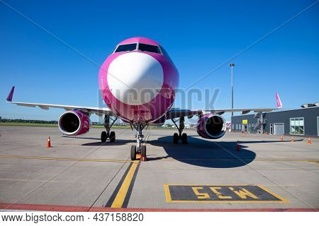 Ukraine, Kyiv - June 26, 2020: Wizzair Airline Plane At The Airport. Airbus A320-232. Low-cost Passe