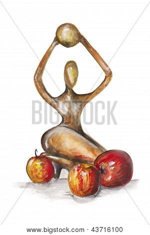Woman In The African Style  With Red Apples Isolated