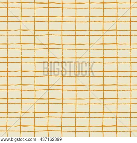 Seamless Repeating Pattern With Hand Drawn Rustic Gridline On Light-colored Background