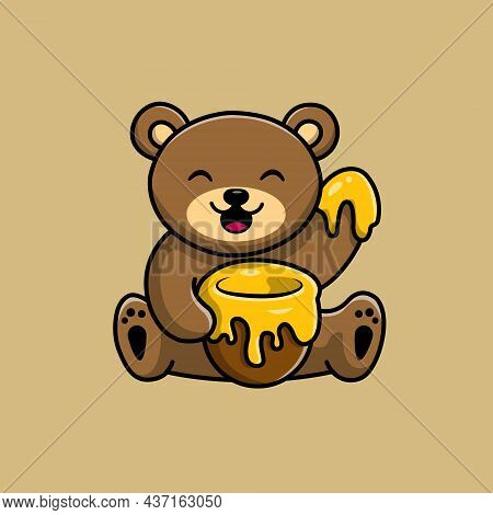 Cute Teddy Bear Eat Honey Vector Icon Illustration. Bear Mascot Cartoon Character. Animal Icon Conce