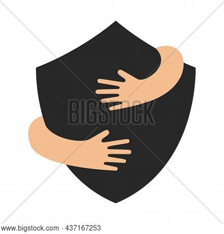 Human Hands Embracing Or Holding Shield Sign Vector Flat Illustration Isolated On White Background.