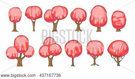 Set Of Fabulous Sweet Trees. For Landscapes With Pink Caramel, Ice Cream Or Jelly. Perspiration. Chi