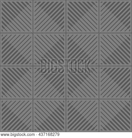 Seamless Gray Background Square Pattern. Thick And Thin Lines Diagonal Angle 45 Degrees. Texture Des