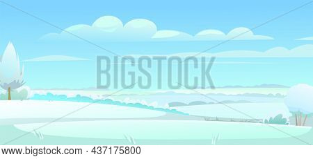 Simple Winter Rural Landscape With Cold White Snow And Drifts. Beautiful Frosty View Of Countryside