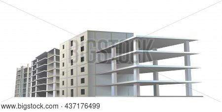 Several Building Construction. Reinforced Concrete Slabs And Floors. Residential House Or Office. Un