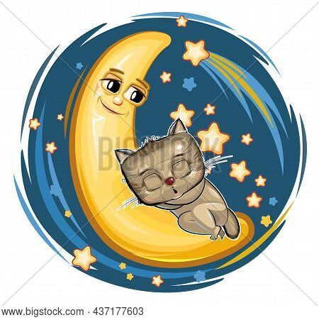 Kid Kitten Sleeps On The Moon. Dreaming A Dream. Childrens Illustration. Funny Night Sky With A Come