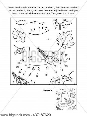 Thanksgiving Day Holiday Themed Dot-to-dot, Or Connect The Dots, Else Join The Dots, Picture Puzzle