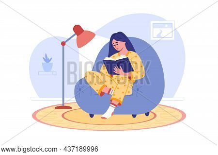 Girl Reading Book In Cozy Chair Vector Illustration. Calm Home Atmosphere, Comfort Furniture, Intere